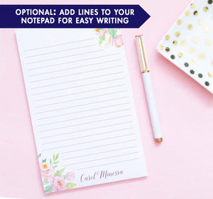 NP225 elegant watercolor floral corners personalized notepads for women water color modern lined