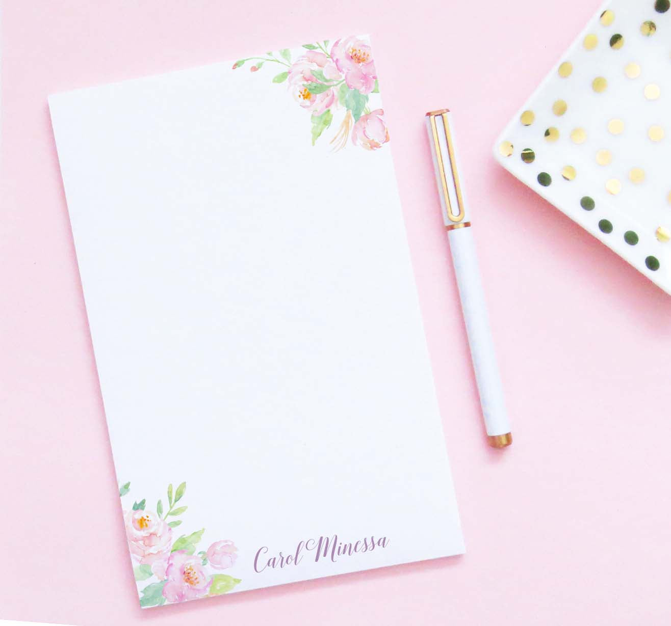 NP225 elegant watercolor floral corners personalized notepads for women water color modern