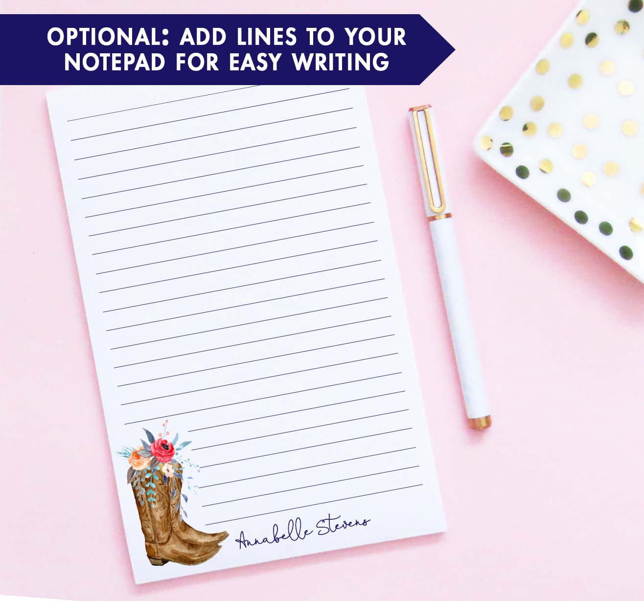 NP229 floral cowboy boots notepads personalized for women elegant western