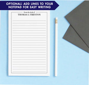 NP230 from the desk of personalized notepads with classic border professional business men women lined
