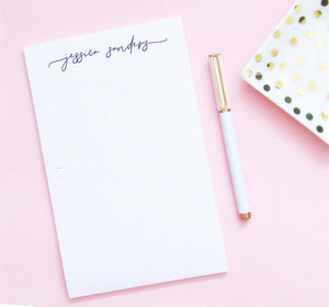 NP232 modern script font notepad personalized set elegant simple