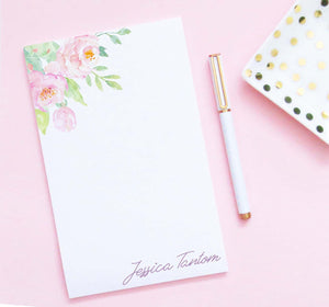 NP233 elegant top watercolor floral corner personalized notepad modern women flowers