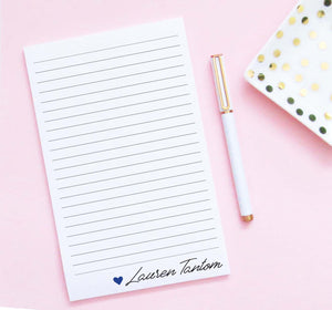 NP238 personalized heart and name notepad for women modern elegant lined