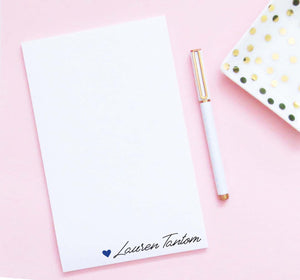 NP238 personalized heart and name notepad for women modern elegant