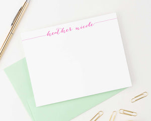 PS001 modern script personal stationery for women men simple classic elegant personalized flat notecard