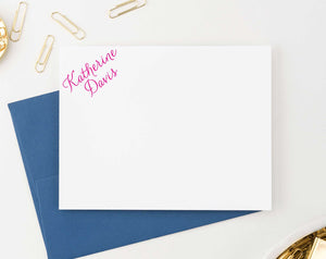 PS006 personalized corner script personal stationery for women men classic simple flat note card 1