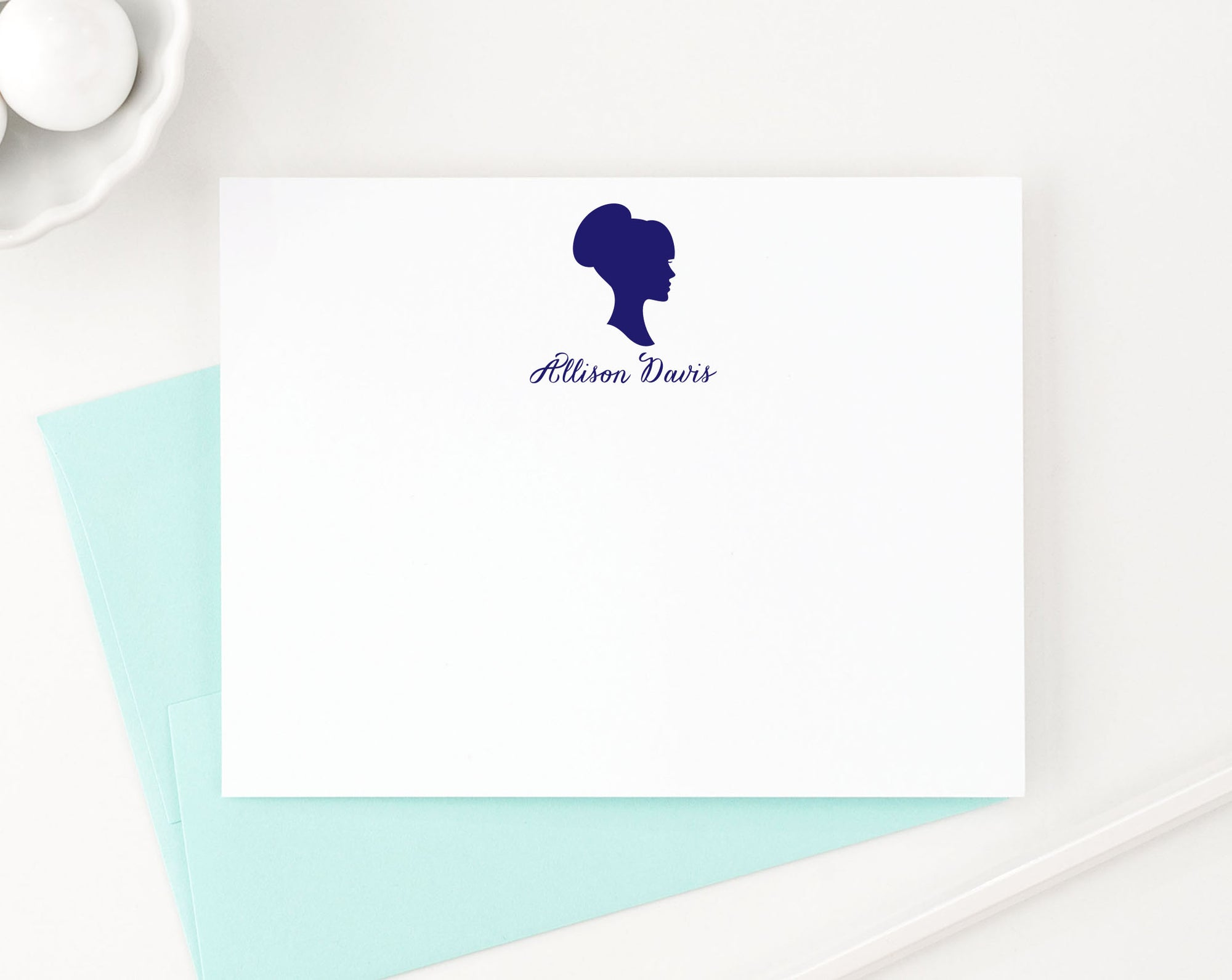 PS010 profile silouette personalized notecards women girls script font flat stationary