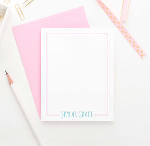 PS011 Name and Border personalized flat note cards for kids women stationery 1