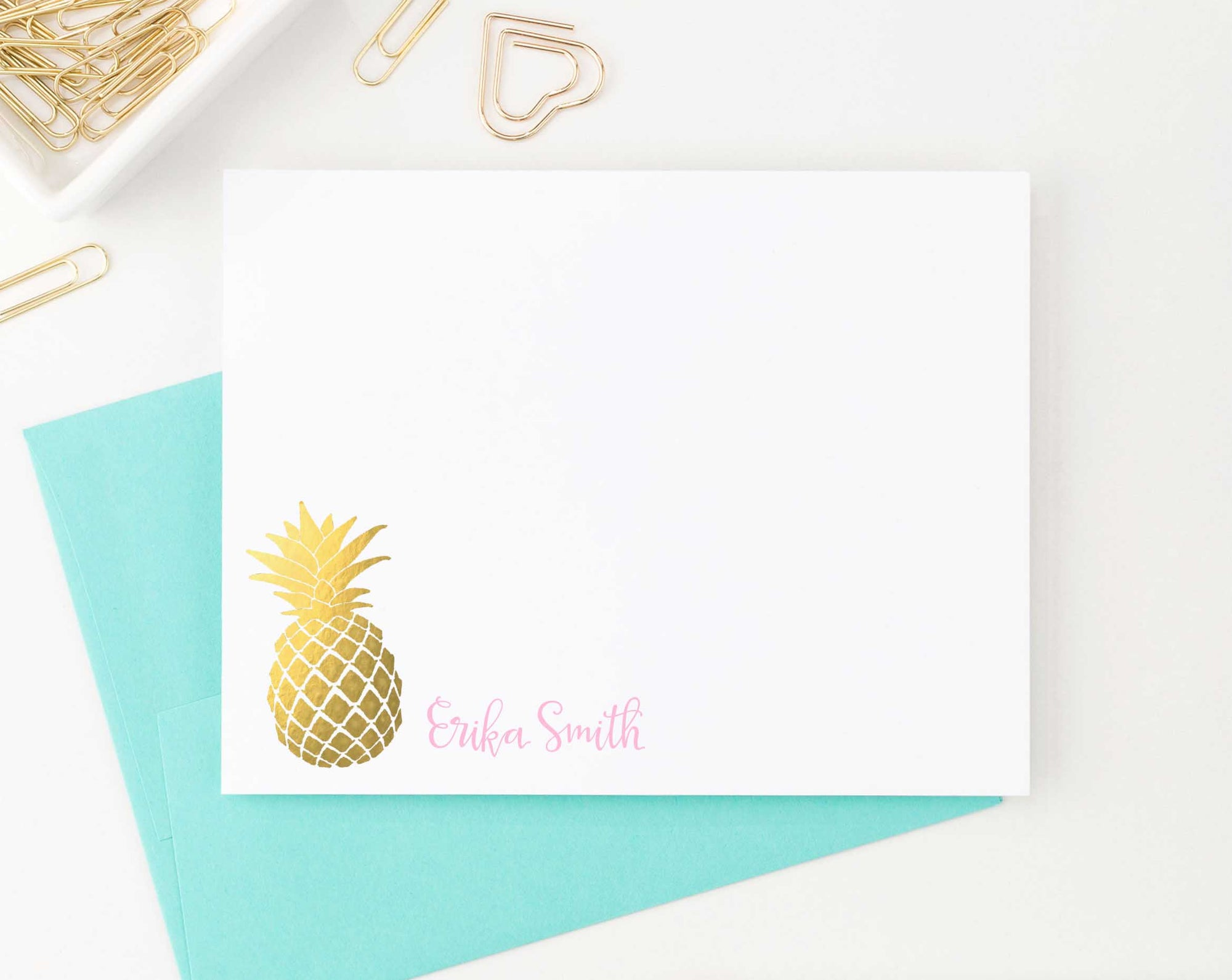 PS017 pineapple customized stationery note cards with script font fruit gold