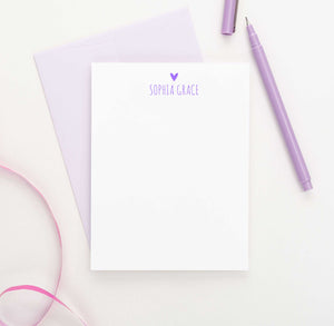 PS020 heart and name customized stationery note cards for girls personalized classic simple 1