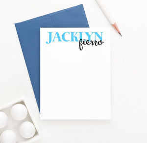PS027 first and last name personal stationery set personalized girls classic simple