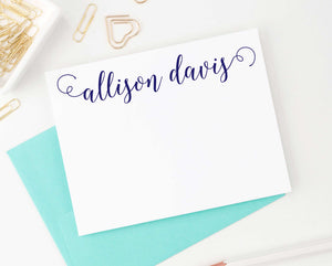 PS039 classic script personalized flat note cards for women adult 1