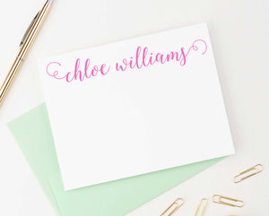 PS039 classic script personalized flat note cards for women adult