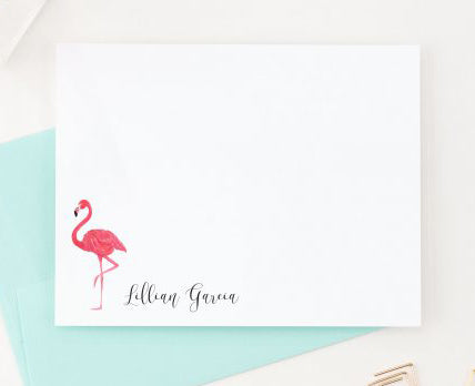 PS042 flamingo personalized stationary with script name simple pink bird tropical