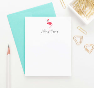 PS043 flamingo personalized stationery set animal bird tropical