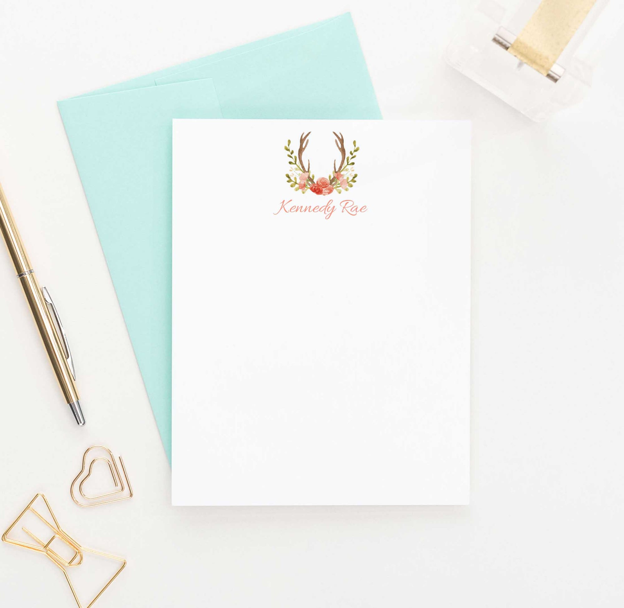 PS050 floral antlers personalized flat note cards set deer antler