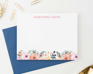 PS063 floral stationary personalized for women elegant simple name 1