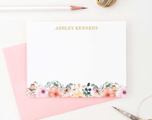 PS063 floral stationary personalized for women elegant simple name