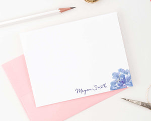 Purple Flower Personal Stationery with Elegant Script Font