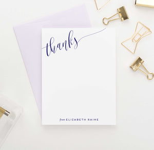 PS074 thanks corner script personalized flat note cards women men classic 1