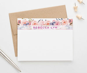 PS080 floral banner personalized stationery for women elegant florals 1