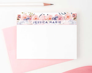 PS080 floral banner personalized stationery for women elegant florals