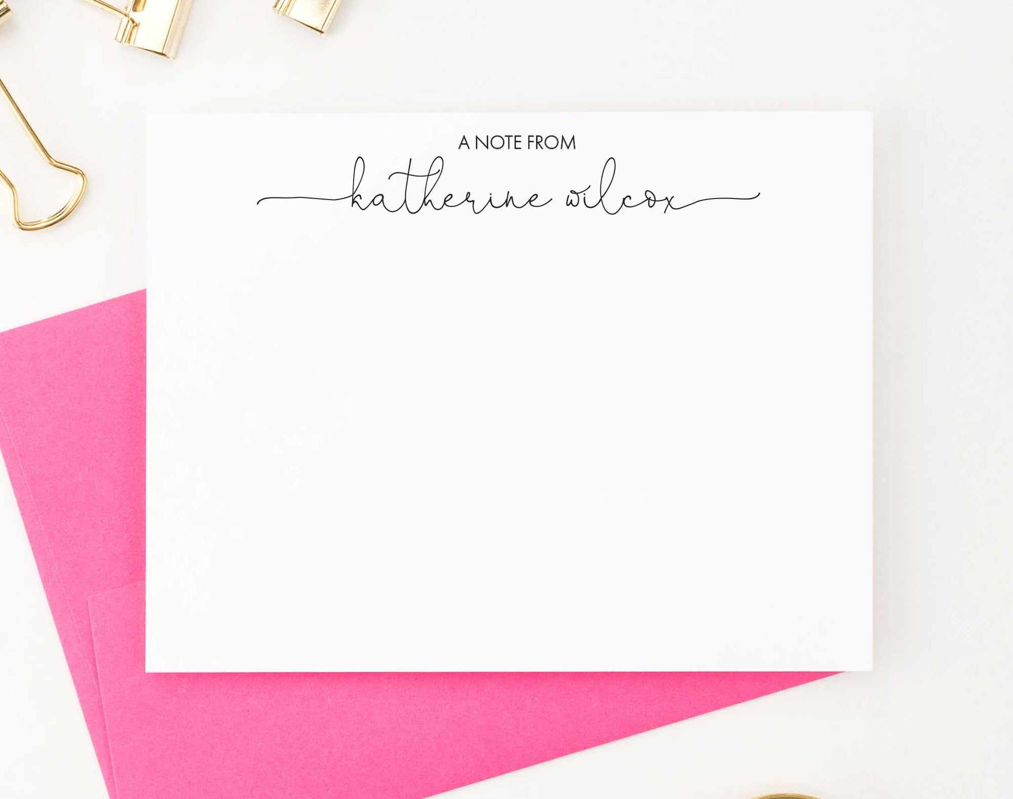 PS083 a note from personalized stationery cards with modern script name women note cards
