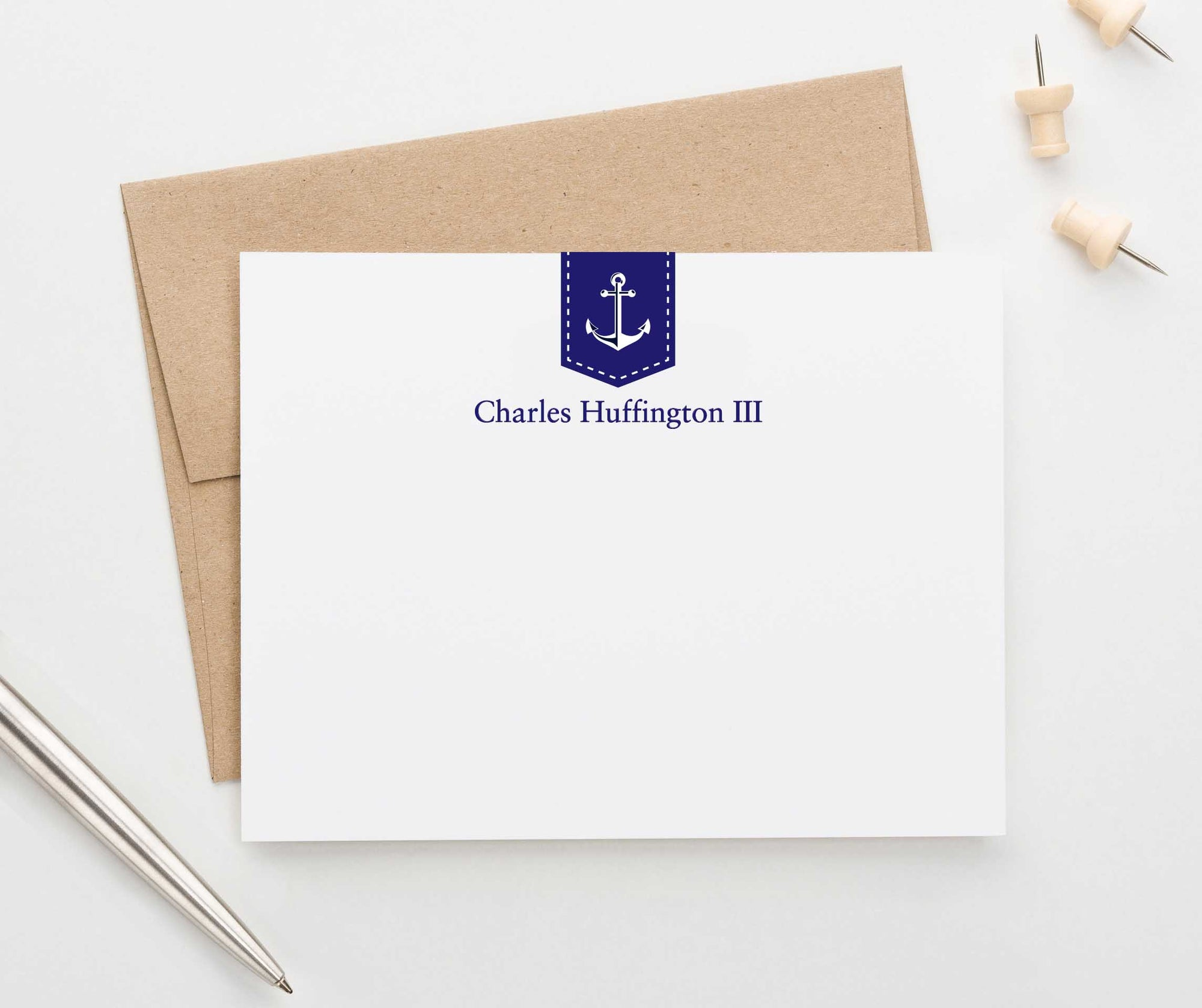 Nautical Anchor Personalized Stationery Cards