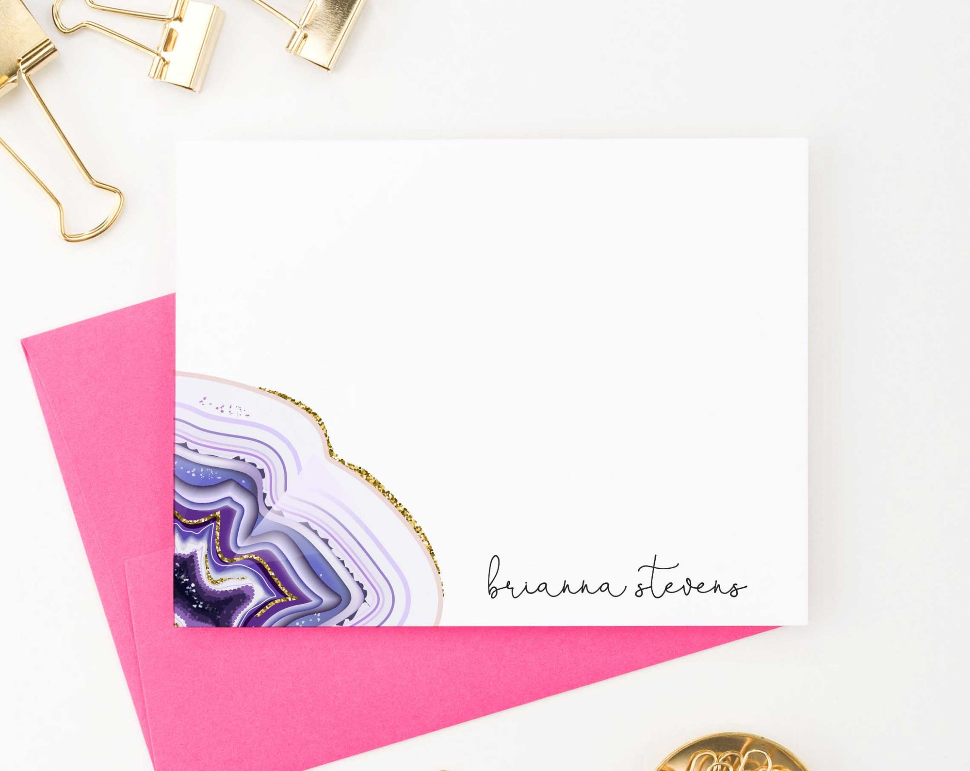 PS089 elegant personalized stationery note cards with purple agate women flat note cards 1