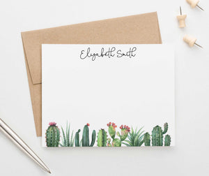 PS090 cactus personalized stationery set for women succulent greenery 1