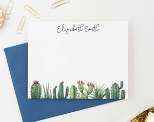 PS090 cactus personalized stationery set for women succulent greenery