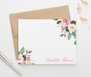 PS095 pink floral personalized stationery for women adult florals flowers 1