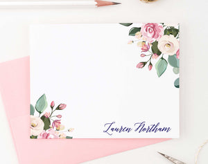 PS095 pink floral personalized stationery for women adult florals flowers