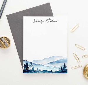 PS096 watercolor mountains personalized stationary for adults water color mountain landscape 3
