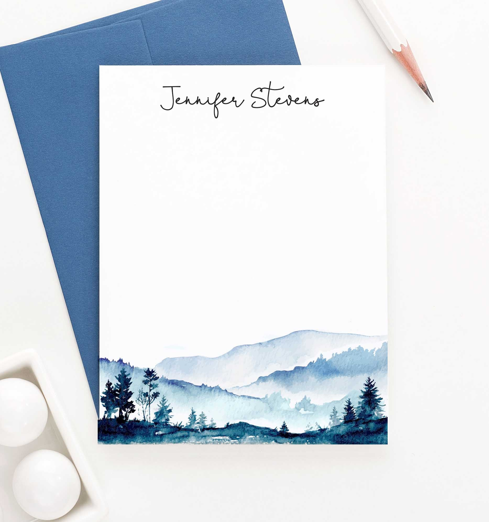 PS096 watercolor mountains personalized stationary for adults water color mountain landscape