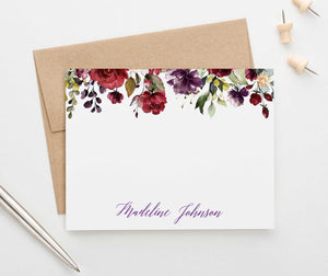 PS099 burgundy floral personalized stationery set florals fall elegant 4