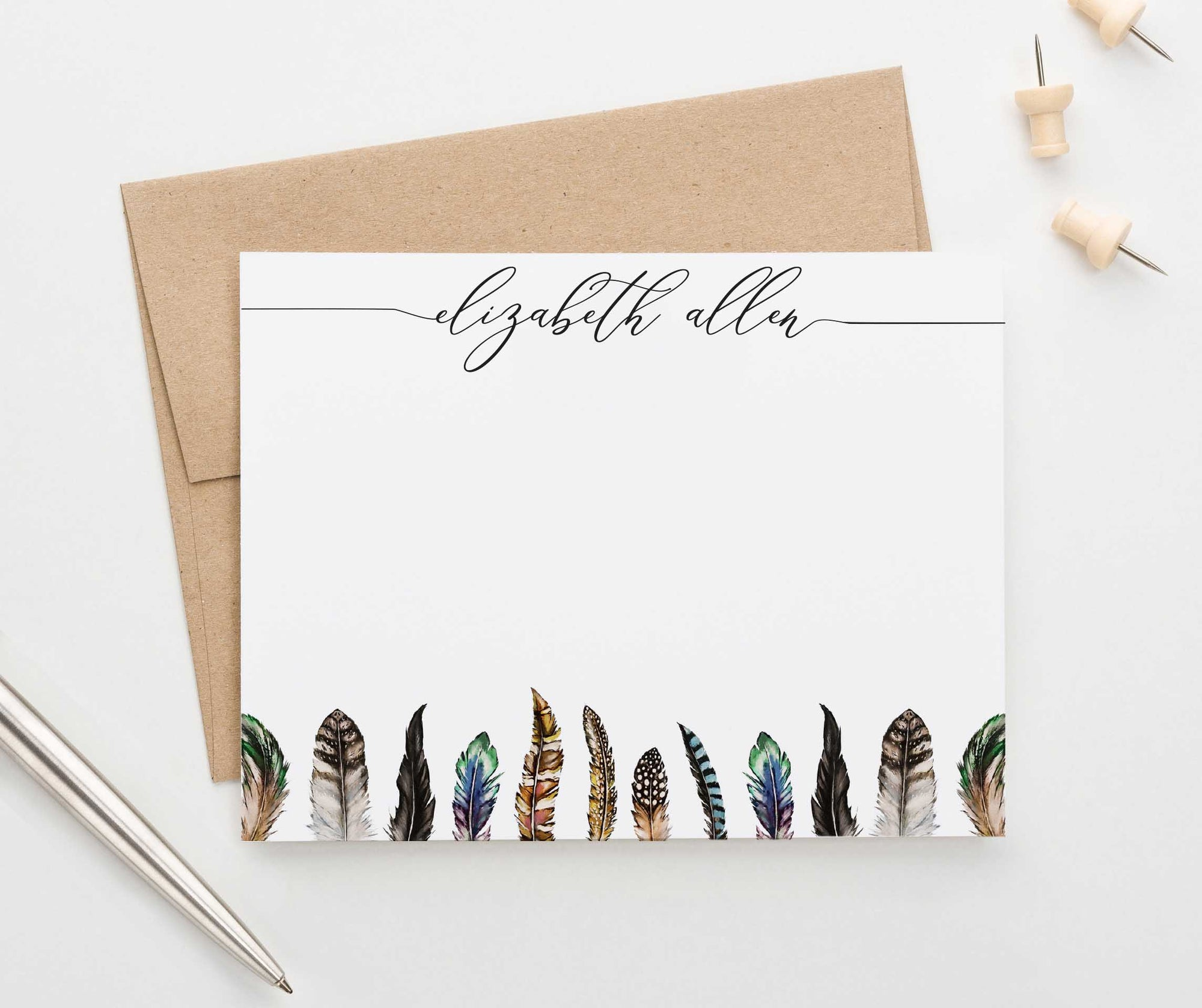 PS100 modern feathers personalized stationery gift set women feather brown 1