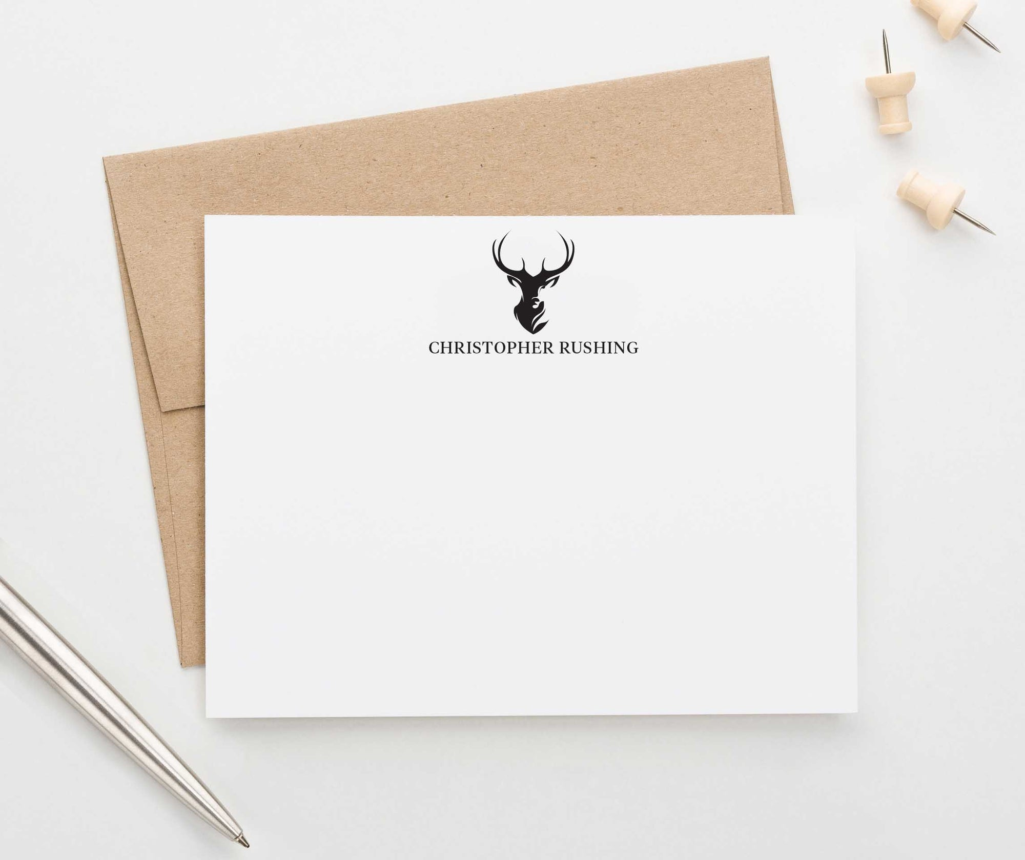 PS102 deer profile silhouette personalized stationery gift set mens adult simple 1