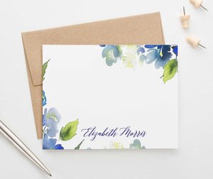 PS105 blue greenery personalized stationery set women elegant watercolor 1