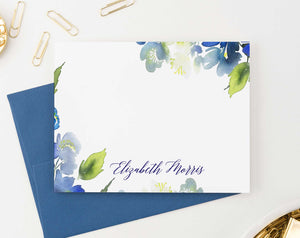 PS105 blue greenery personalized stationery set women elegant watercolor 2