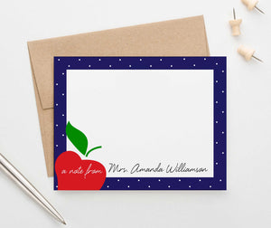 PS108 apple personalized teacher stationery with polka dot frame teachers principle educator 1