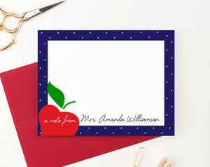 PS108 apple personalized teacher stationery with polka dot frame teachers principle educator 3