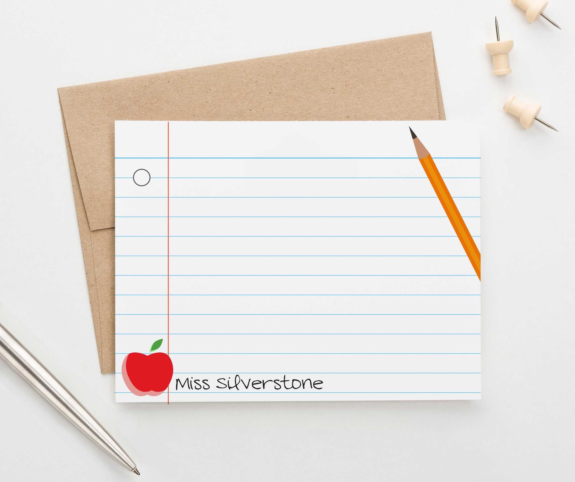 PS109 paper personalized thank you notes for teachers with pencil and apple teacher principle 1