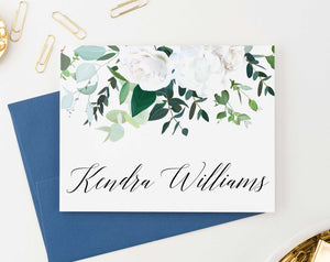PS112 white floral personalized note cards set women elegant folded stationary 1