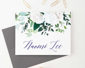 PS112 white floral personalized note cards set women elegant folded stationary 2