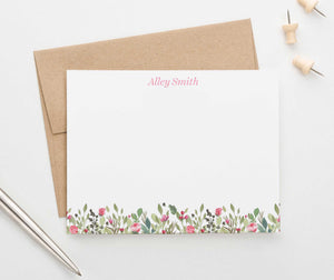 PS113 watercolor pink floral personalized thank you note cards florals flowers women 3