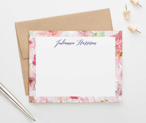 PS117 watercolor floral border personalized notecards women florals flowers pink 1