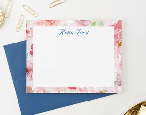 PS117 watercolor floral border personalized notecards women florals flowers pink 2