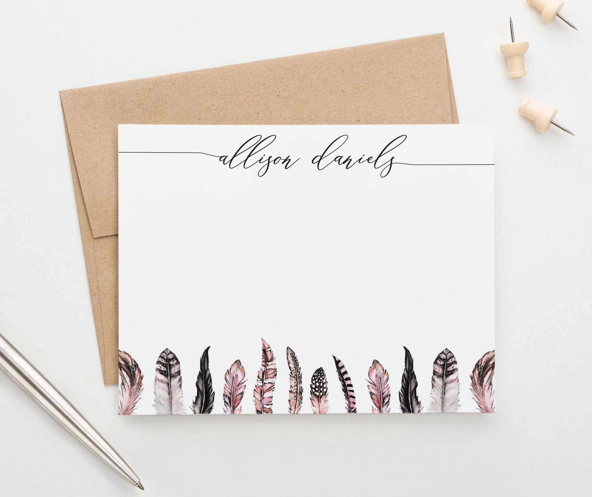PS118 simple script personalized notecards with pink feathers feather women boho bohemian 1