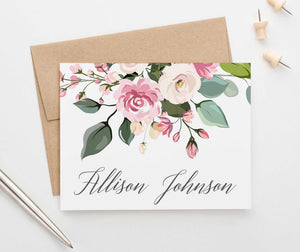 Folded Personalized Stationery with Blush Pink Florals
